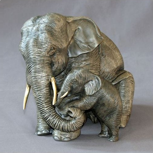 Elephant Bronze Mama and Baby