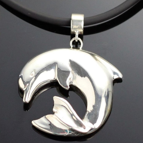 Curved Dolphin Silver Pendant Necklace | Nature Jewelry