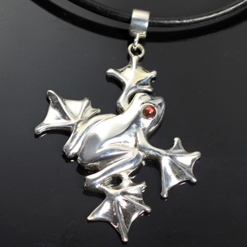 Flying Frog Sterling Silver Pendant Necklace   Nature Jewelry