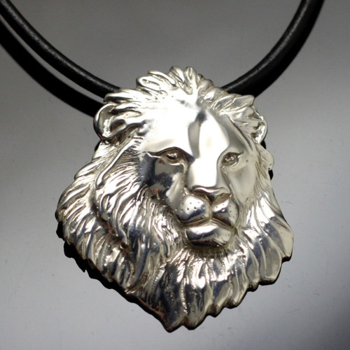 Lion Head Sterling Silver Pendant Necklace   Nature Jewelry