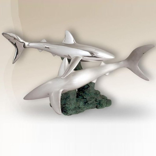 Pair of Sharks Silver Plated Sculpture   2516