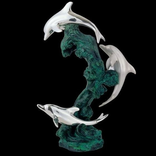 Dolphin Trio Silver Plated Sculpture   5028