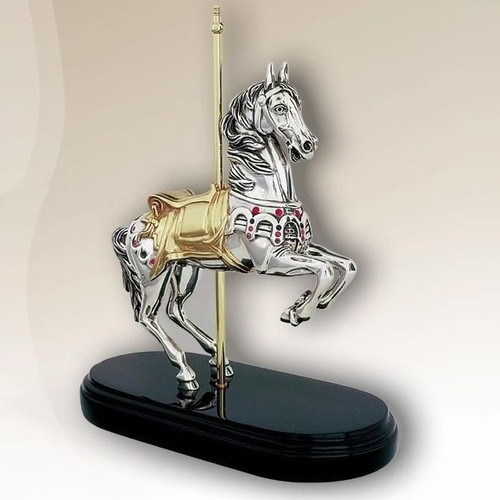 Carousel Horse Silver Plated Sculpture  | 7510