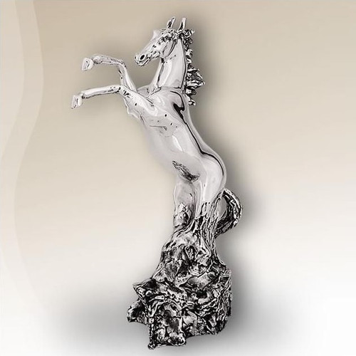 Horse Rearing Silver Plated Sculpture | 8006