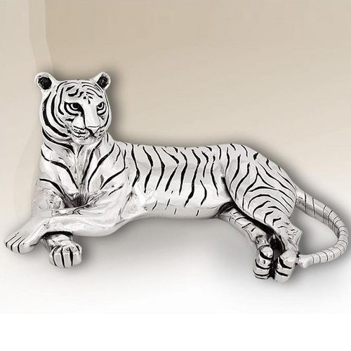 Tiger Silver Plated Reclining Sculpture   8013