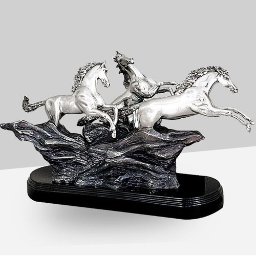 Wild Horses Silver Plated Sculpture | 8020 | D'Argenta