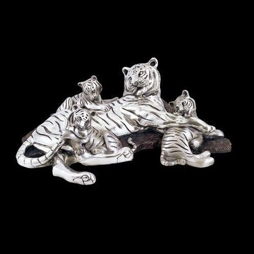Tiger Mom-3 Cubs Silver Plated Sculpture   8023