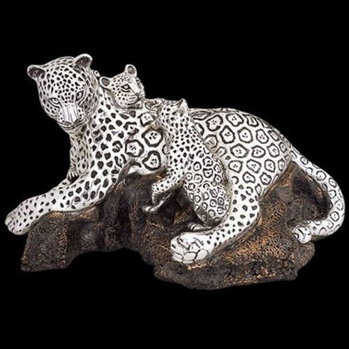 Leopard Mother-2 Cubs Silver Plated Sculpture | 8026