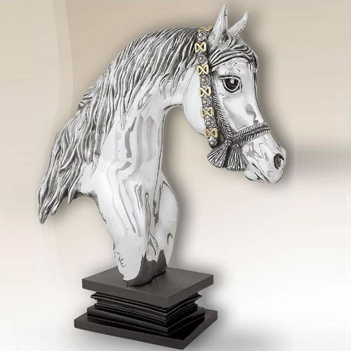 Horse Head Silver Plated Sculpture | 8030