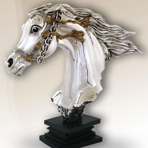 Horse Bust Silver Plated Sculpture | 8035