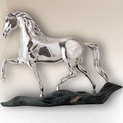 Horse Prancing Silver Plated Sculpture |  8038