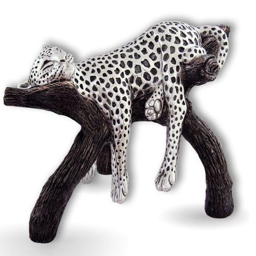 Leopard Silver Plated  Sculpture | 8041