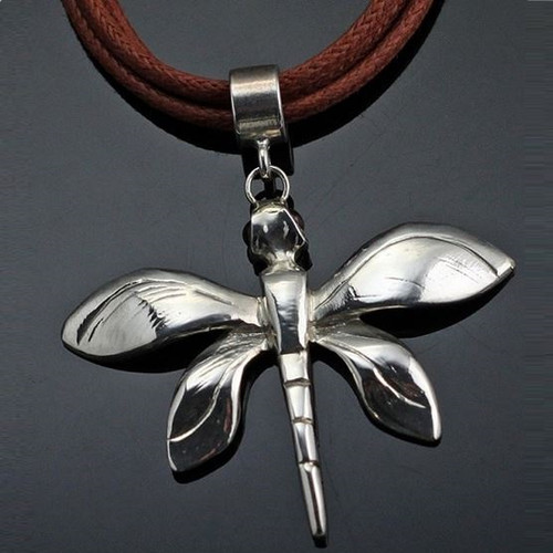 Small Dragonfly Sterling Pendant Necklace   Nature Jewelry