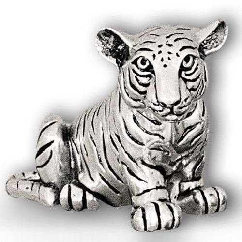 Tiger Cub Sitting Silver Plated Sculpture   A50