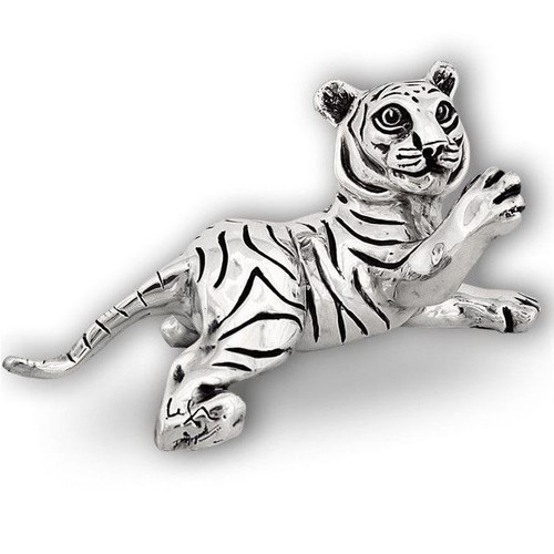 Tiger Cub Paw Up Silver Plated Sculpture | A52