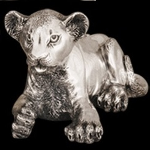 Lion Cub Laying Silver Plated Sculpture | A57