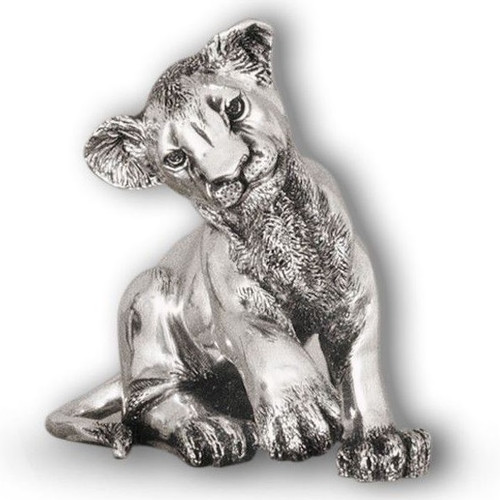 Lion Cub Sitting Silver Plated Sculpture | A59