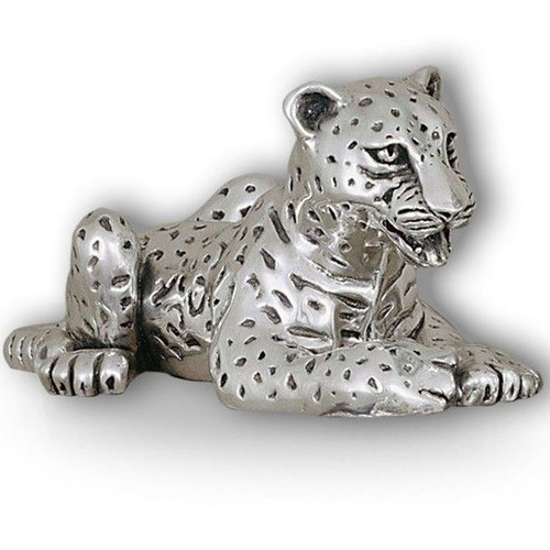 Leopard Cub Laying Silver Plated Sculpture | A61