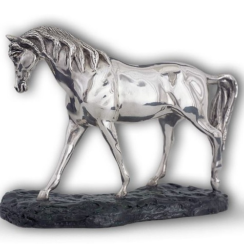 Arabian Horse  Head Down Silver Plated Sculpture | A72