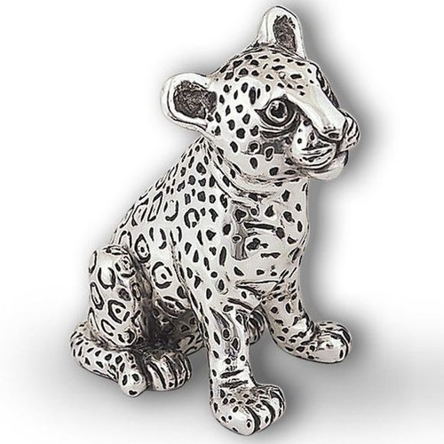 Leopard Cub Small Silver Plated Sculpture | A74
