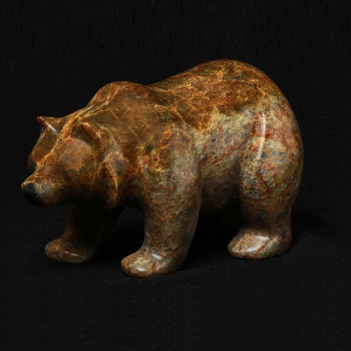 Bear Walking Stone Sculpture