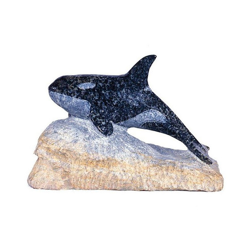 Orca Whale with Base Stone Sculpture