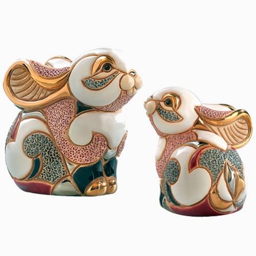 Rabbit and Baby Ceramic Figurine Set | Rinconada