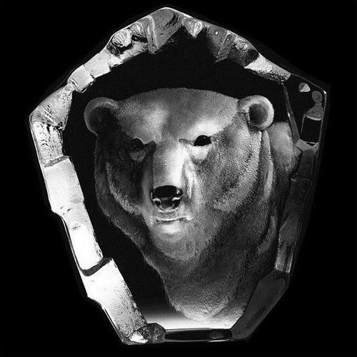 Polar Bear Head Crystal Sculpture | 33361