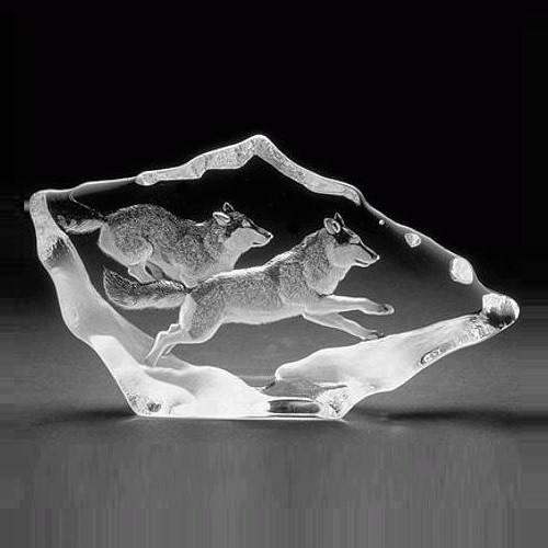Wolf Pair Crystal Sculpture | 33599