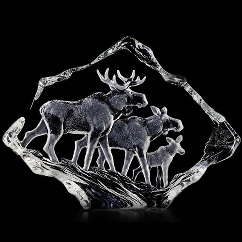 Moose Family Crystal Sculpture   33636