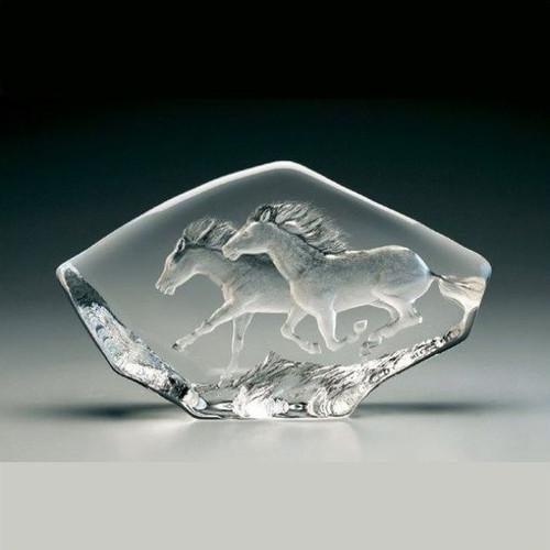 Horses Running Crystal Sculpture | 33716