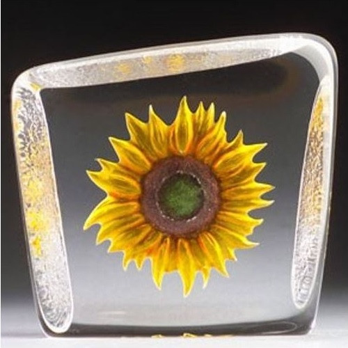 Yellow Sunflower Crystal Sculpture | 33869 | Mats Jonasson Maleras
