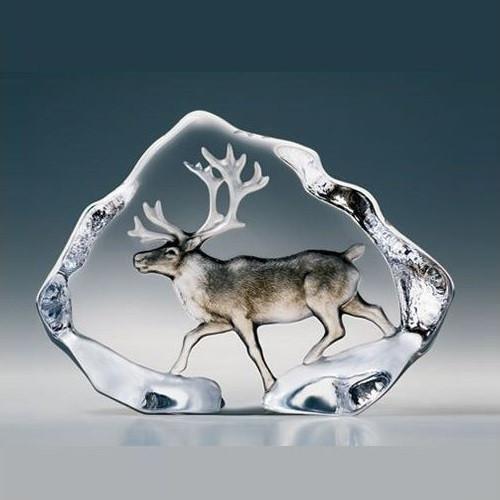 Reindeer Painted Crystal Sculpture | 33953