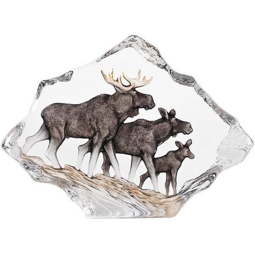Moose Family Wildlife Crystal Sculpture   34068