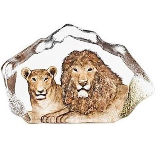 Lion Couple Crystal Sculpture | 34112