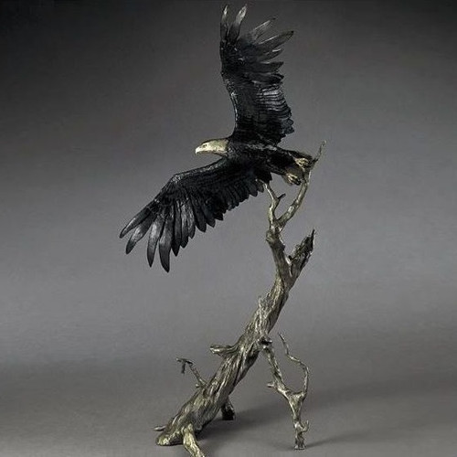 "Bronze Eagle Sculpture ""Into The Wind"""