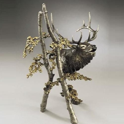 "Large Elk Bronze Sculpture ""The Call"""