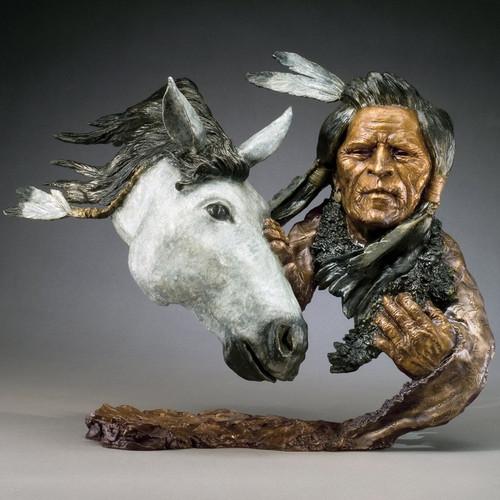 "Native American & Horse Sculpture ""Warrior's Journey"""