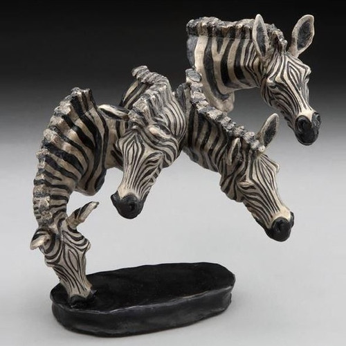 "Small Zebra Bronze Sculpture ""Watering Hole"""