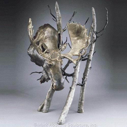 "Moose Bronze Sculpture Large ""Solitude"""