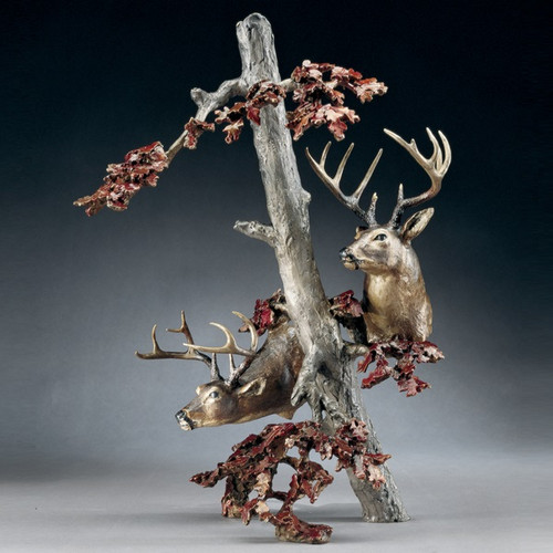"""Bronze Deer Sculpture """"Downwind"""""""