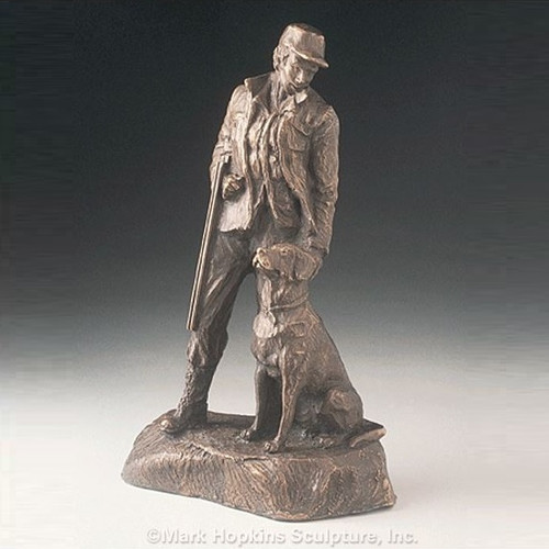 "Bronze Hunting Dog and Man Sculpture ""Sunrise"""