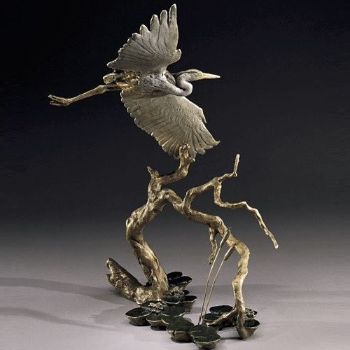 Great Blue Heron Bronze Sculpture