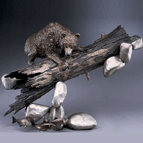 "Bear with Trout Bronze Sculpture ""Catch of the Day"""
