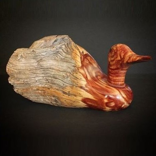 Fence Post Wood Duck Sculpture Large