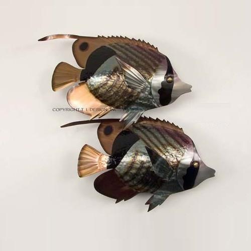 Striped Butterflyfish Pair Metal Reef Sculpture