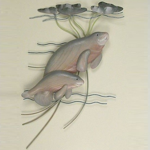 Manatee With Baby Wall Sculpture