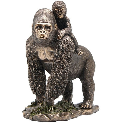 Gorilla and Baby Bronze Finish Sculpture