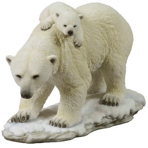 Polar Bear Cub on Mom's Back Sculpture