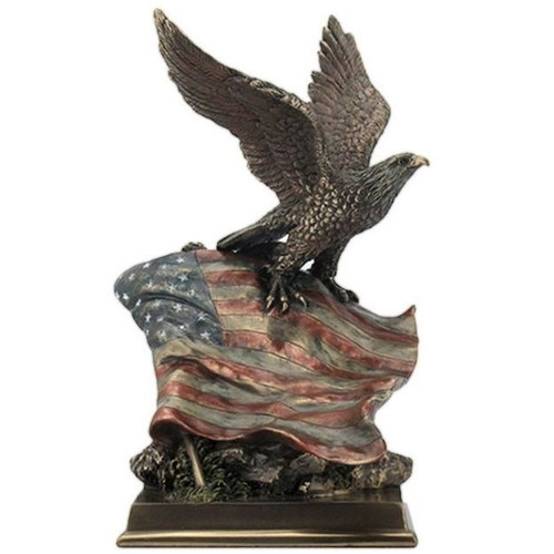 Bald Eagle and Stars N Stripes Sculpture